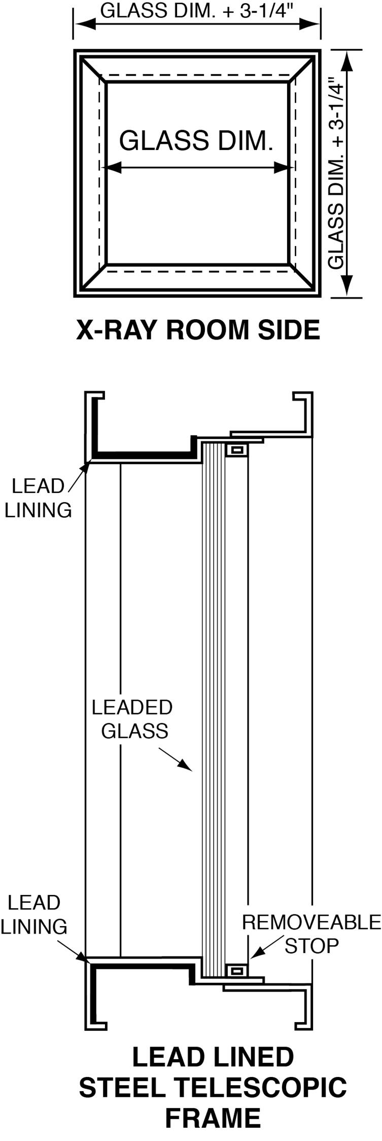 x-ray room side of lead glass window and of solid and telescopic window frames
